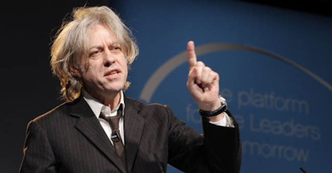 Bob Geldof speaks at the One Young World summit, at Old Billingsgate Market in central London.