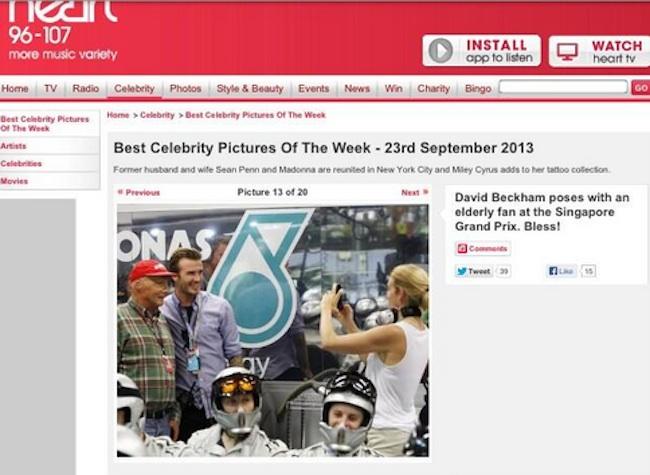 beckham lauda1 Heart FM reduces Niki Lauda to elderly man in presence of David Beckham at Singapore Grand Prix