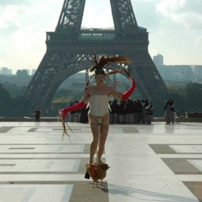 cohen artist Steve Cohen arrested for dancing with a chicken tied to his cock at the Eiffel Tower