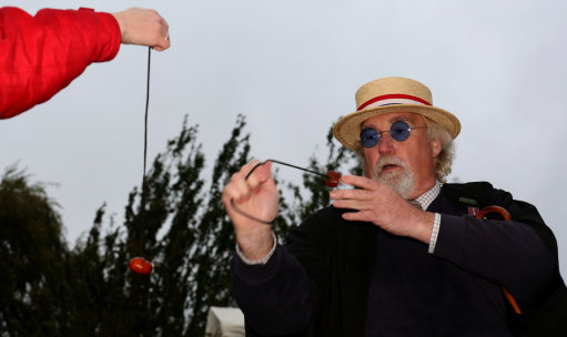 Brian Green from Spalding, Lincolnshire takes aim, as competitors take part in the World Conker Championships at the Shuckburgh Arms in Southwick Northamptonshire.