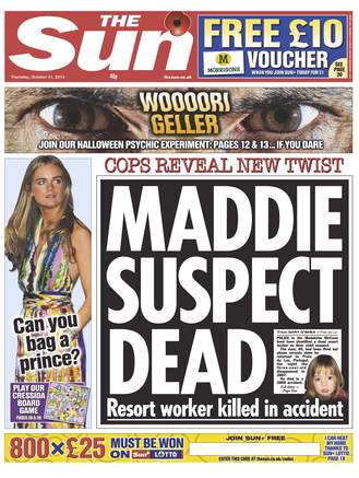 The Sun Front page 31.10.13 MADDIE SUSPECT DEAD