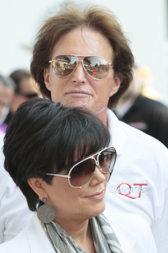 Television personality Kris Jenner and husband Olympic Gold medalist and television personality Bruce Jenner arrive for the Indianapolis 500 auto race at the Indianapolis Motor Speedway in Indianapolis, Sunday, May 30, 2010. (AP Photo/AJ Mast)