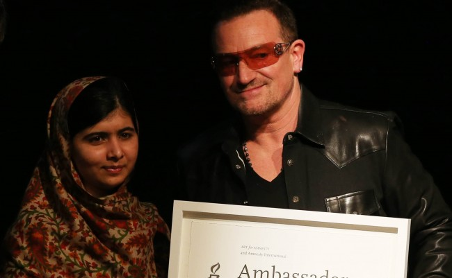 PA 17634243 Malala Yousafzai: father regrets not protecting her from Bono and extracts from her auobiography