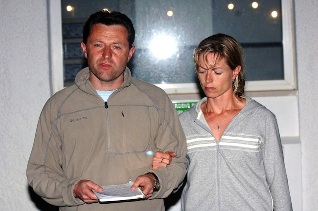 Gerry McCann, with his wife Kate, gives a statement to the press in the Algarve village of Praia Da Luz, where their daughter, three-year-old Madeleine McCann, went missing on Thursday evening.