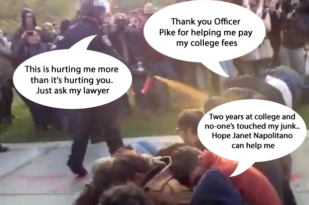 california police copy After Pepper Spray Cop University of California Welcomes TSA Groper Janet Napolitano To Molest Students