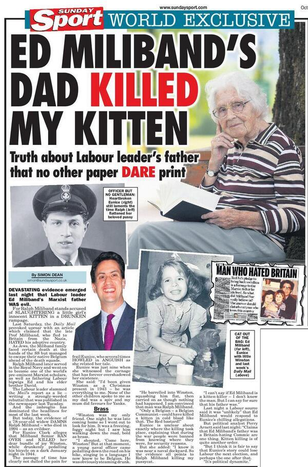 ed miliband Ed Milibands day was a cat killer: The Man Who Hated Kitten