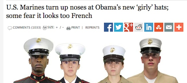 marines hats Washington Times and New York Post Spread BS That Obama Wants US Marines To Look More French