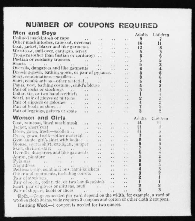 PA 9167939 WWII British Rations Clothing Card (1942)