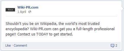 Wiki-PR facebook page