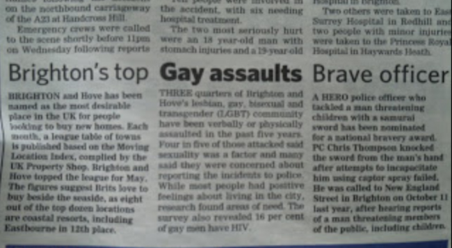 sub editor Sub Editor Horror:  Brightons Top Gay Assaults Brave Officer