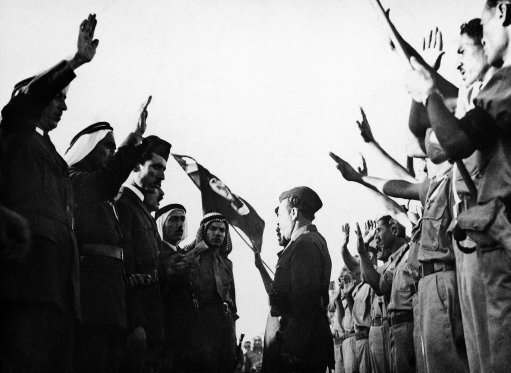 Volunteer Arab soldier for the private Army of the Jerusalem Grand Mufti are sworn in on December 15, 1947 at Abu Dis, a small Palestinian village, near Jerusalem, Israel.