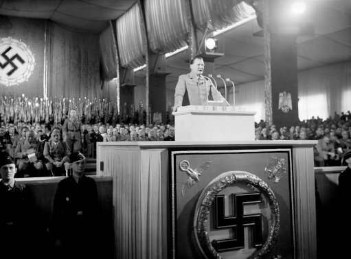 Field Marshal Hermann Goering makes his dramatic speech at Nuremberg, Germany on Sept. 10, 1938. In a violent two-hour polemic at Nuremberg, Field Marshal Goering attacked the Czech government, boasted Germany's vast food stores were sufficient to defy any blockade, that her western fortifications were impregnable and that her air force was the strongest in the world. He also criticized England, pointed to the unrest in Palestine.