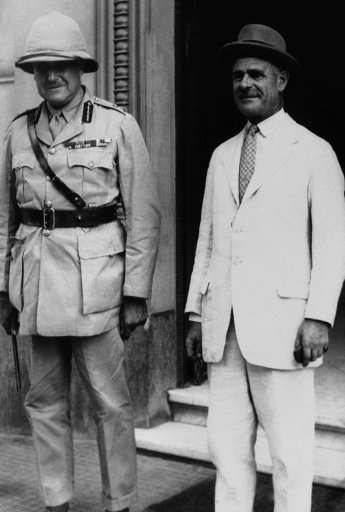 General Sir Archibald Wavell, the former commander of the British troops in Palestine, arrived in Cairo, Egypt on August 2 to take command in his newly-created post of commander of the British troops in the Middle East. General Sir Archibald Wavell, right, with General Sir Henry Maitland Wilson, the commander of the British troops in Egypt, on his arrival at headquarters in Cairo on August 2, 1939. (AP Photo)