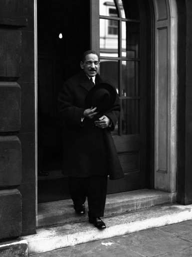 For the first time since the conference on Palestine Began in London, members of the Arab and Jewish delegations met together on February 23, to discusses the problems confronting them. The meeting was informal and was a last endeavour to save the conference from breakdown. Ali Maher Pasha, chief of the Egyptian delegates to the conference, leaving St. James's Palace in London on Feb. 23, 1939, after the first meeting of the Jews and Arabs. (AP Photo)