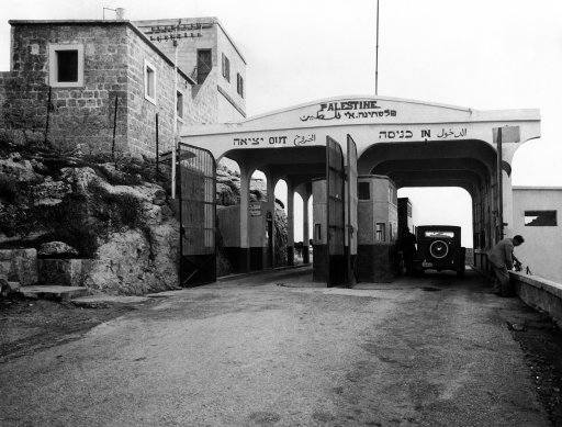 The gateway from Syria into Palestine, Jerusalem in 1938. Owing to the secret entry of thousands of Arab Rebels from Syria and the Lebanon into the Holy land, strict watch must be kept by the French and British police at the frontier.