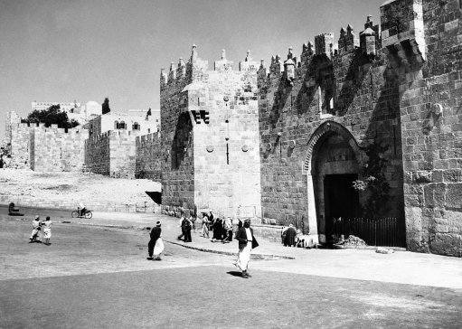 Palestine has been the scene of much death and destruction during the past two years, consequent on the conflict between Arab and Jew, and Jerusalem the holy has not escaped from scenes of violence. The famous Damascus gate of Jerusalem, scene of many incidents that have affected the history of Jerusalem and Palestine in an undated photo. This leads from the new city to the old quarter and is regarded by both factions as of strategic importance.