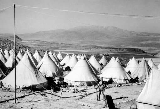 Tent colony of American-Jewish settlers near Jerusalem, Palestine, Israel on August 23, 1938. It is under constant guard during present troubles.
