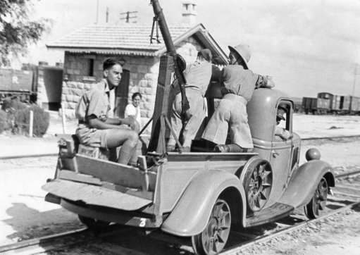 The British military authorities in Palestine have virtually taken over the railways, and there are unmistakable signs of military control along the line from here to Tel Aviv, Sept. 22, 1936. Special arrangements have been made to guard the line for fear of sabotage.