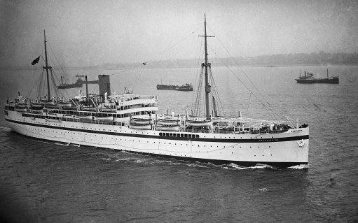 The troopship Dorsetshire, with members of the Royal Northumberland Fusiliers, Royal Irish Fusiliers and Royal Engineers regiments on noard, sails from Southampton, England, on Sept. 12, 1936, enroute to Palestine, where the troops will reinforce the existing force out there.