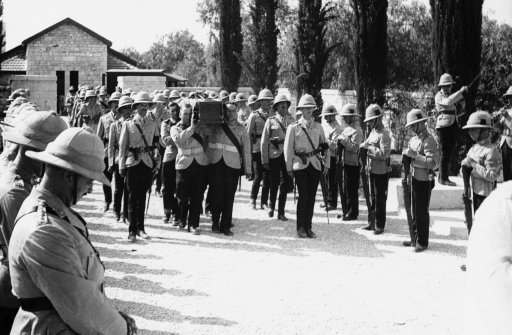 Funeral for British army victim of the Arab revolt in Palestine, who was buried with full military honors by his comrades, at Ramla, near Jerusalem, Sept. 9, 1938.