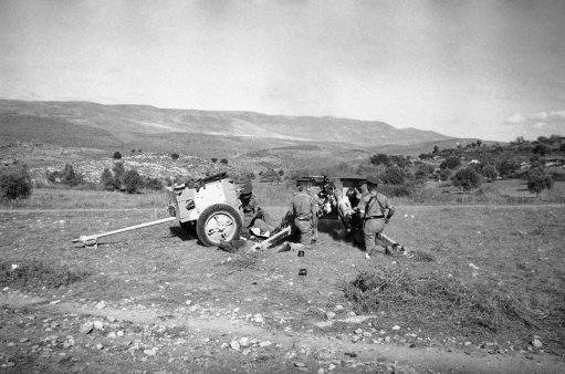 Latest British artillery with rubber-tired wheels, in action against Arab rebels in Palestine, Jan. 9, 1939.
