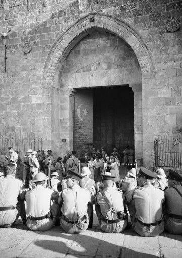 British soldiers resting at the Damascus Gate in the Holy City November 1938.