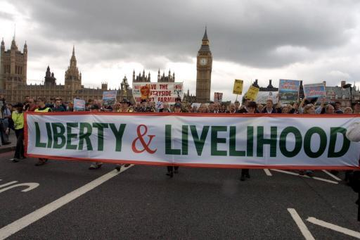 The Liberty and Livelihood march, organised by the Countryside Alliance, passes over Westminster Bridge in central London to show its opposition to the proposed ban on fox-hunting and hunting with hounds.