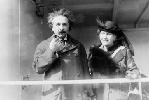 Professor Albert Einstein and his wife Elsa arrive from Palestine to raise funds for Zionism, April 4, 1921.