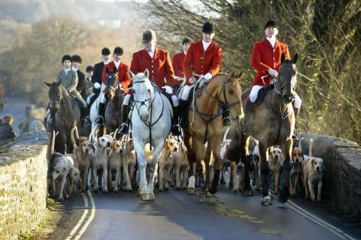 The Avon Vale hunt makes its way to the Village of Laycock, Wiltshire on the traditional Boxing Day meet.