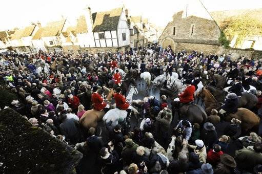 The Avon Vale hunt in the village of Laycock, Wiltshire on the traditional Boxing Day meet.