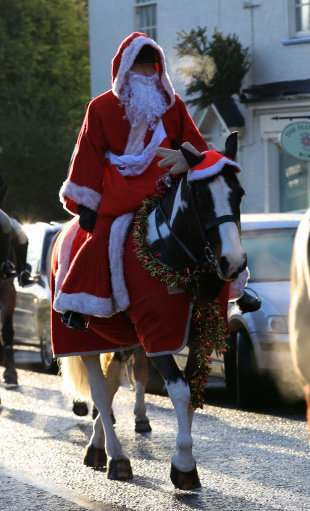 A man dressed as Santa joins in the Cheshire Hunt