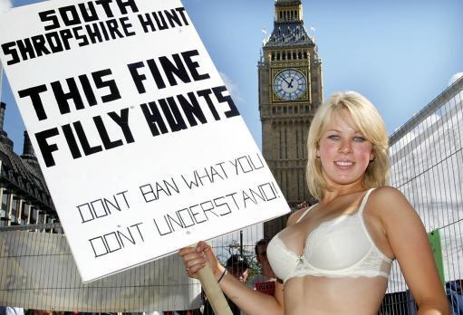 Gemma Richards 22 from Baston Hill, South Shropshire protesting  outside Parliment.