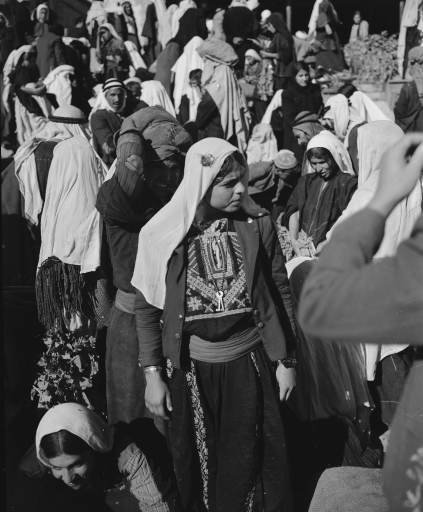 Arab girls shop in the market place near Manger Square in Bethlehem, Nov. 28, 1947.
