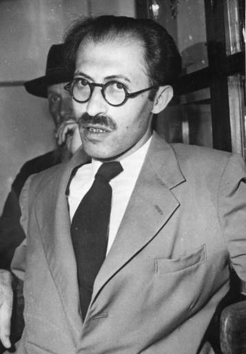 Menachem Begin, at his home in Tel-Aviv, Israel, March 25, 1948, is the leader of the Herut party in the Republic of Israel. The party is the strongest opposition party to prime minister David Ben-Gurion's Mapai party. Begin led one of the biggest terrorist gangs theat fought the British before the state of Israel was created. In 1948 the British placed a 30 000 Pound reward on his head, dead or alive. Now he is considered the number two man on Israel's political scene and he has been a strong opponent of Ben-Gurion's solution of the Gaza problem.