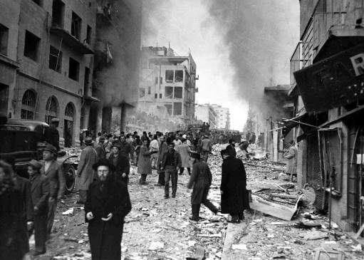 Two trucks exploded on Ben Yehuda Street, in the heart of the Jewish business district of Jerusalem, Feb. 2, 1948, killing 27 people and injuring more than 100 others.