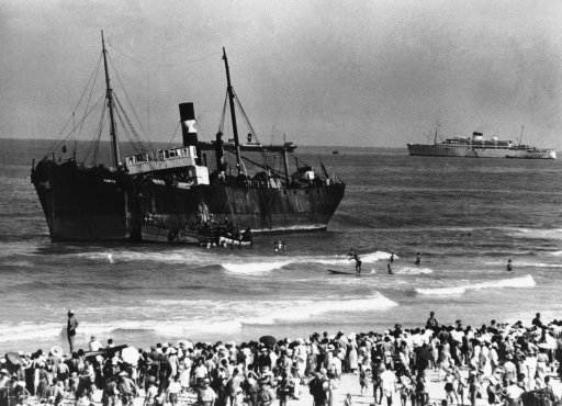 In the early morning in Tel Aviv, the S.S. Parita, with 700 Jewish refugees on board, was beached opposite the Ritz Hotel in Tel Aviv, the all-Jewish town in Palestine, Aug. 22, 1939. After the beaching of the vessel the refugees disembarked. (AP Photo)