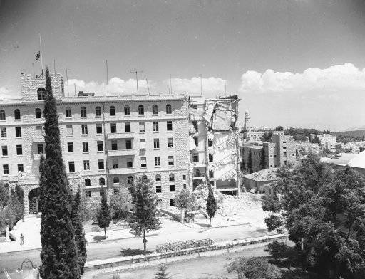 A view of the King David Hotel in Israel after the dust has cleared, Aug. 6, 1946. Sappers had set a demolition charge to break up the cement flooring in preparation to cutting steel reinforcements and pulling down the bomb damaged end of the building.