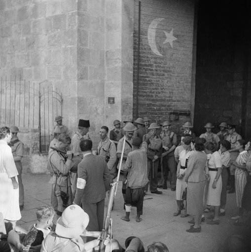 Police post built under a Muslim mosque to prevent Arab sniping in Israel on Nov. 4, 1938. (AP Photo)