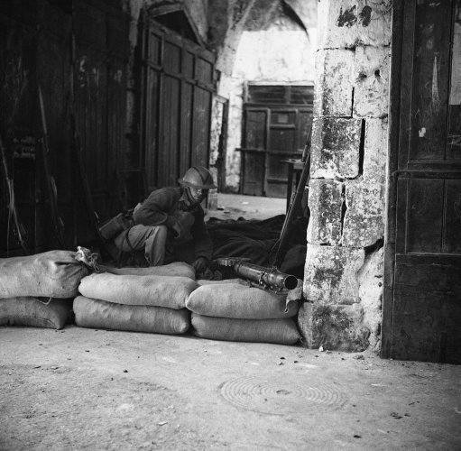 British troops in action in Palestine, Israel on Oct. 19, 1938, during the reconquest of old Jerusalem from great rebel.