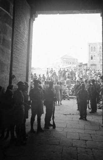 British soldiers in steel helmets after they recaptured the Old City of Jerusalem at the Damascus Gate, November 1938.