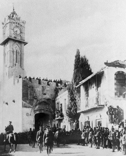 General Allenby (British) enters the captured City of Jerusalem, Palestine, Dec. 9, 1917. He entered on foot thru the Gate of David.