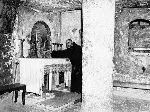Brother Camillus Liska, Sacristan at the Grotto of St. Jerome in Jerusalem, Israel on Nov. 28, 1945.