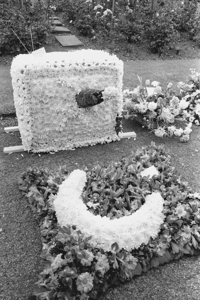 Floral tributes at Golders Green Crematorium in North London for the funeral of Keith Moon, the drummer of English rock group The Who, who died from a drug overdose. Picture by: PA/PA Archive/Press Association Images