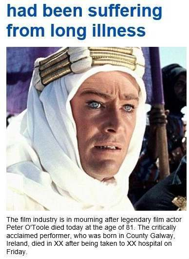 peter o'toole first