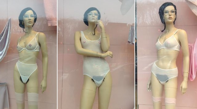 AAmannequins14 American Apparel Window Mannequins Now Donning Dark Hairy Bush
