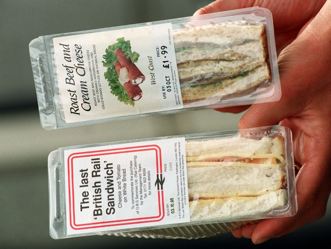 The British Rail sandwich was today (Wed) privatised along with all on-train catering. BR's catering suppliers, OBS Services, has been privatised in an 11.5 million management buyout deal. Picture shows a Roast Beef and Cream Cheese sandwich, which can now be purchased on the train, alongside an old style British Rail Sandwich. Date: 04/10/1995