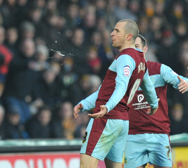 Burnley's Dean Marney celebrates after scoring the only goal of the game