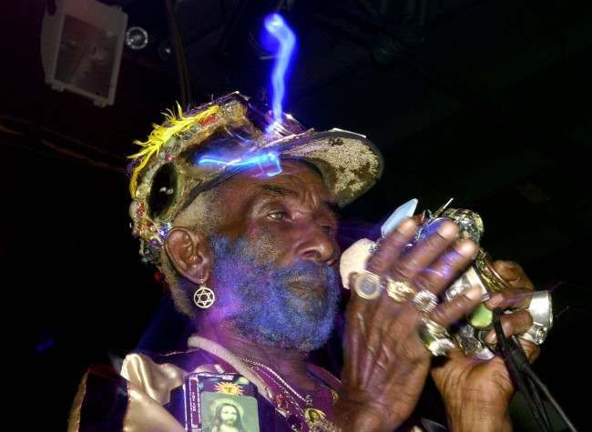 One time producer for reggae legend, Bob Marley, Lee 'Scratch' Perry, performing his own style of dub reggae, which was mixed by the 'Mad Professor', at POD on St. Patrick's Day, in Dublin, Republic of Ireland.