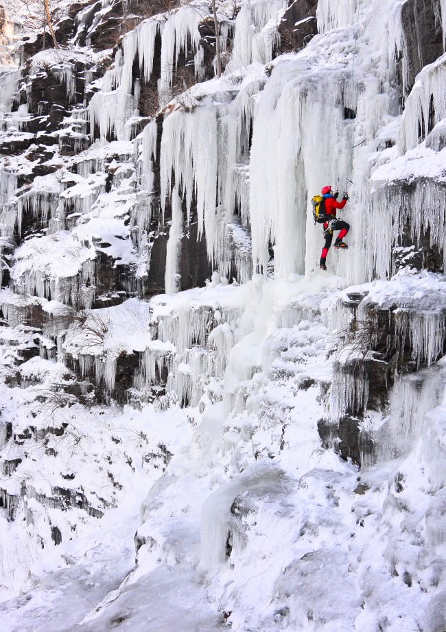 Ice climber Howie Mievogel uses ice tools and crampons to ascend a frozen waterfall on the cliffs in Riegelsville, Pa. near the Delaware River, Saturday, Jan. 4, 2014. Below zero temperatures have brought ice climbers out of hiding the past few days. (AP Photo/Steve Klaver)