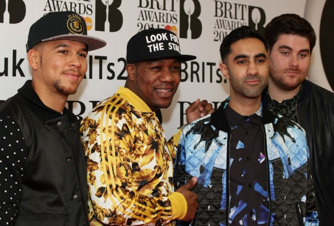 Piers Agget, DJ Locksmith, Amir Amor and Kesi Dryden of Rudimental arriving for the BRITS nominations, at ITV Studios, Southbank in London.